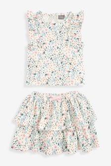 Ecru Floral Vest And Skirt Co-ord Set (3mths-7yrs)