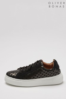 Oliver Bonas Spotty Black Flatform Trainers