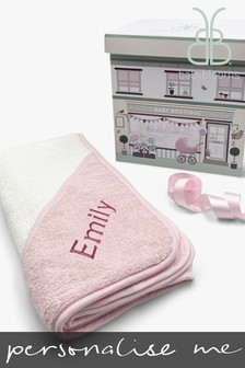 Babyblooms Personalised Pink Luxury Hooded Baby Towel With Hood
