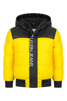 Calvin Klein Jeans Boys Yellow Colourblock Padded Jacket