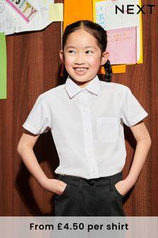 White 2 Pack Short Sleeve Shirts (4-17yrs)
