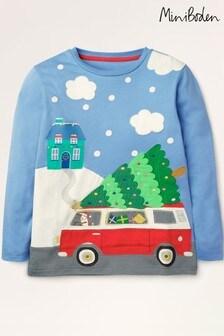 Boden Blue Christmas Scene T-Shirt