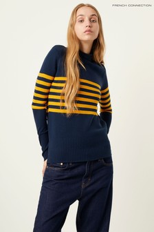 French Connection Blue Placement Stripe Jumper