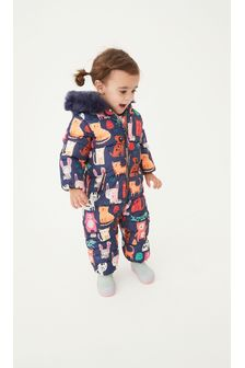 Navy Blue Shower Resistant All Over Print Snowsuit (3mths-7yrs)