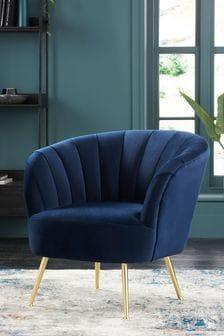Opulent Velvet Dark Navy Stella Accent Chair With Gold Finish Legs