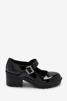 Black Patent Chunky Mary Jane Heels