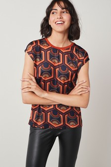 Red Geo Woven Mix T-Shirt