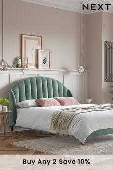 Opulent Velvet Mineral Green Stella Bed