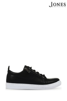 Jones Bootmaker Black Mila Lace-Up Leather Trainers