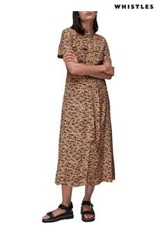 Whistles Bark Print Shirt Midi Dress
