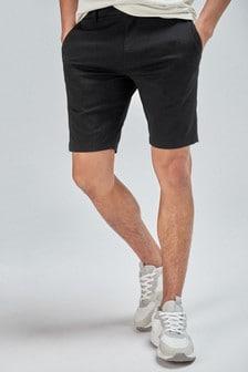 Black Skinny Fit Stretch Chino Shorts