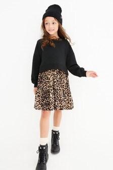Black Animal Print Dress Set (3-12yrs)