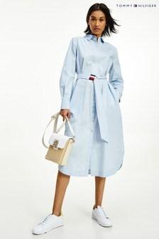 Tommy Hilfiger Blue Poplin Midi Shirt Dress