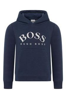 Boys Navy Logo Hooded Sweater