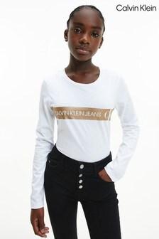 Calvin Klein White Foil Logo Long Sleeve T-Shirt