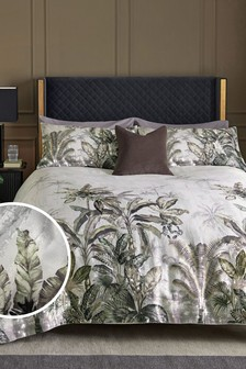 Tropical Jacquard Metallic Duvet Cover and Pillowcase Set