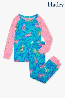 Hatley Blue Jungle Cats Organic Cotton Raglan Pyjamas Set