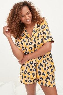 Ochre Animal Button Through Short Pyjamas Set