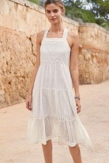 White Broderie Midi Dress