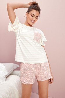 Pink Stripe Ruffle Cotton Short Set