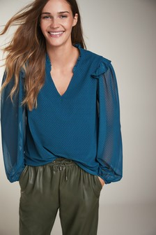Teal Heart Mesh Ruffle Top
