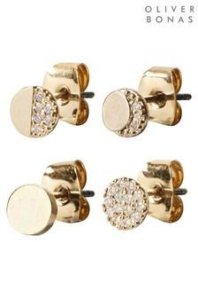 Oliver Bonas Moon Sparkle Stud Earrings Set of Four