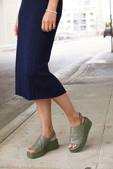 Green Leather Slingback Flatform Wedges