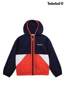 Timberland® Navy/Red Colourblock Zip Windbreaker Jacket