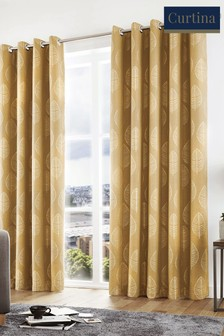 Curtina Helsinki Skandi Leaf Lined Eyelet Curtains