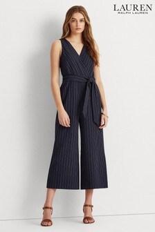 Lauren Ralph Lauren® Navy Stripe Stretch Alijah Wide Leg Jumpsuit