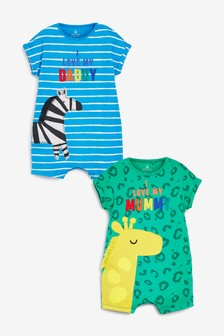Bright 2 Pack Character Mum And Dad Romper (0mths-3yrs)