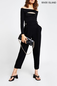 River Island Black Balloon Shaped Peg Trousers