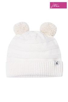 Joules Cream Pom Pom Knitted Pom Hat