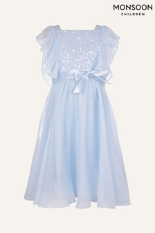 Monsoon Blue Rowanna Sequin Dress in Recycled Polyester