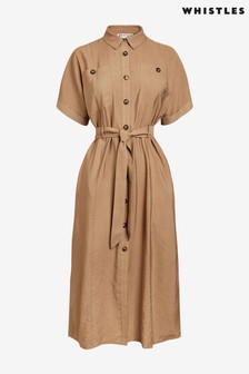 Whistles Beige Military Belted Midi Dress