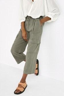 Khaki Linen Blend Utility Crop Trousers