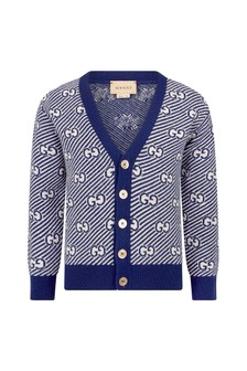Boys Blue Wool Cardigan