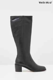 White Stuff Black Jean Block Heel Long Boots
