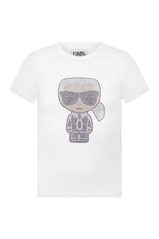 Girls White Jersey Karl Logo T-Shirt
