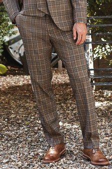Taupe Tailored Fit Check Suit: Trousers