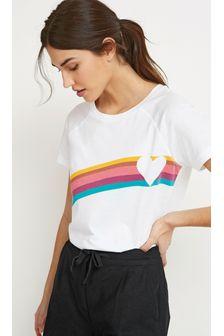 White Rainbow Heart Raglan T-Shirt