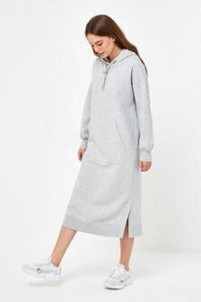 Grey Marl Longline Sweat Hoody Dress