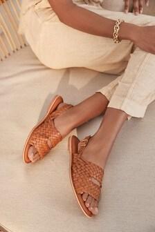 Tan Regular/Wide Fit Forever Comfort® Weave Slingback Sandals