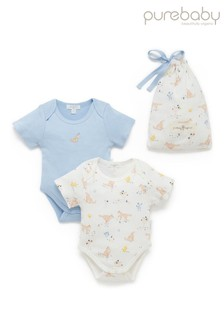 Purebaby Blue Bodysuits 2 Pack In Gift Bag