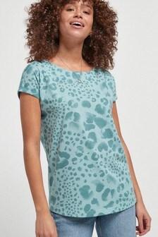 Blue Animal Print Curved Hem T-Shirt