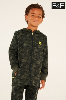 F&F Khaki Camouflage Scuba Zip Thru Sweat Top