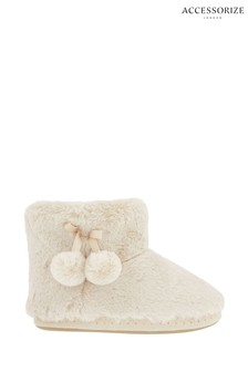 Accessorize Cream Supersoft Slipper Boots
