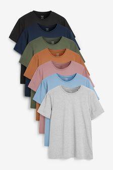 Dusky Mix Regular Fit Crew Neck T-Shirts 7 Pack