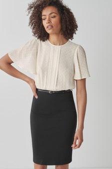 Black/Ecru 2-In-1 Belted Dress