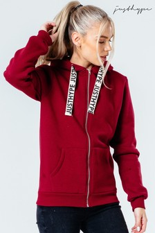 Hype. Womens Burgundy Drawstring Zip Hoody